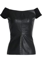 Bailey 44 Jersey Paneled Faux Leather Top Black