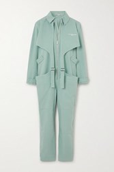 Stella Mccartney Buckled Printed Stretch Cotton Jumpsuit Mint