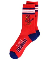 For Bare Feet St. Louis Cardinals Retro 4 Stripe Deuce Crew Socks Red Blue