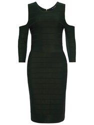 French Connection Cut Out Dress Pine Forest Green