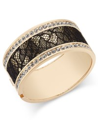 Thalia Sodi Gold Tone Crystal Hinged Bangle Bracelet Only At Macy's Black Lace