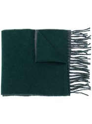 Polo Ralph Lauren Logo Embroidered Fringed Scarf Green