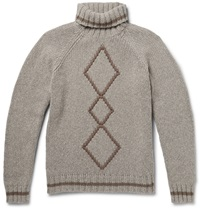 Etro Argyle Ribbed Knit Wool Rollneck Sweater Neutrals