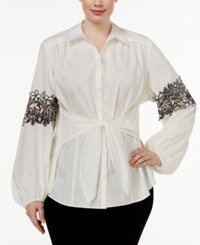Inc International Concepts Plus Size Lace Trim Tie Front Shirt Only At Macy's Washed White