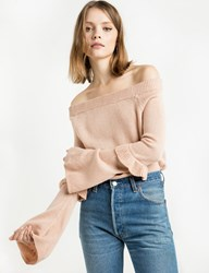 Pixie Market Blush Off The Shoulder Sweater