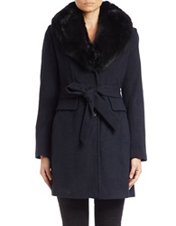 Michael Michael Kors Fox Fur Collared Wool Blend Coat Navy Blue