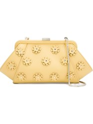 Zac Zac Posen Floral Applique 'Posen' Clutch Yellow And Orange
