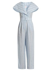 Gul Hurgel Sailor Collar Striped Linen Jumpsuit Blue Stripe