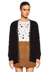 Saint Laurent Oversized Cotton Blend Cable Knit Studded Cardigan In Black