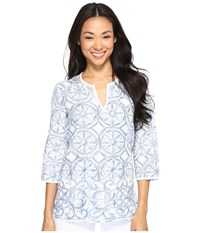 Tommy Bahama Watercolor Tiles Tunic Bering Blue Women's Clothing