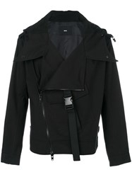 D.Gnak Off Centre Zip Jacket Cotton Black