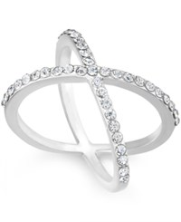 Inc International Concepts Silver Tone Criss Cross Rhinestone Ring Only At Macy's