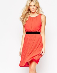 Vila Mono Dress With Pleated Skirt Hotcoral