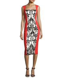 Oscar De La Renta Sleeveless Chevron Ikat Jacquard Dress Red Pattern