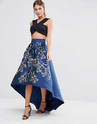 Chi Chi London Premium Full Midi Skirt With Gold Embroidery Navy Gold