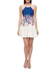 Guess Floral Fit And Flare Dress Ivory
