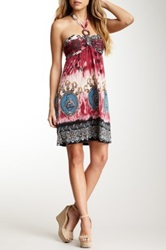 Papillon Jewel Print Gray Short Halter Dress Multi