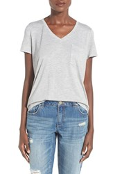 Junior Women's Soprano Oversize V Neck Pocket Tee Heather Grey