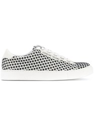 Armani Jeans Star Print Lace Up Sneakers Women Polyester Rubber 36 White