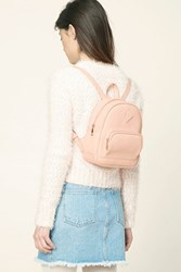 Forever 21 Faux Leather Mini Zip Backpack Light Pink