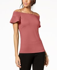 Inc International Concepts I.N.C. Off The Shoulder Flutter Sleeve Top Created For Macy's Polished Coral