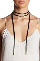 Cara Accessories Faux Leather Layered Choker Necklace Black