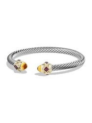David Yurman Bracelet With Rhodalite Garnet Citrine And 14K Gold Cabochon