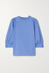 Atlantique Ascoli Ruffled Cotton Poplin Blouse Blue