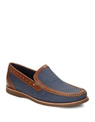 Tommy Bahama Berwin Burnished Canvas Leather Loafers Indigo