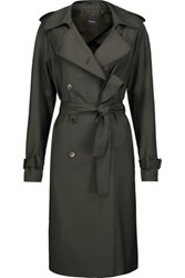 Theory Laurelwood Wool Blend Trench Coat Army Green