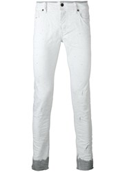 Diesel Dyed Hem Slim Fit Jeans White