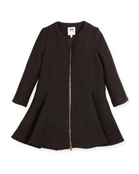 Milly Minis Emma Double Face Wool Blend Coat Black