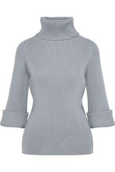 Red Valentino Ribbed Wool Turtleneck Sweater Gray