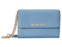 Michael Michael Kors Jet Set Travel Large Phone Crossbody Cornflower Cross Body Handbags Blue