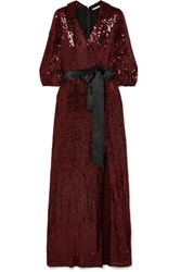 Alice Olivia Bayley Satin Trimmed Sequined Chiffon Maxi Dress Burgundy