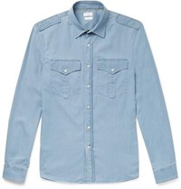 Brunello Cucinelli Cotton Chambray Shirt Light Blue