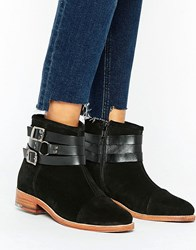 Ravel Strap Leather Flat Boot Black Suede