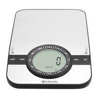 Brabantia Digital Kitchen Scales With Timer Matt Steel Rectangular