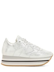 Philippe Model Eiffel Leather Sneakers Silver