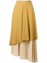 Chalayan Layered Midi Skirt Yellow