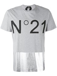 N 21 No21 Metallic Panel Logo T Shirt Men Cotton L Grey