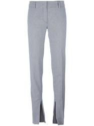 Cedric Charlier Houndstooth Pattern Slim Fit Trousers Blue