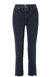 Agolde Remy Cropped High Rise Straight Leg Jeans Indigo
