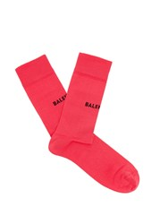 Balenciaga Logo Intarsia Cotton Blend Socks Pink