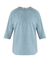By Walid Raw Edge Cotton Baseball T Shirt Light Blue