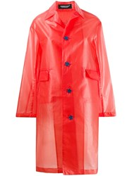 Undercover Star Button Raincoat Red