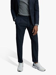 Tommy Hilfiger Slim Fit Pleated Check Trousers Navy