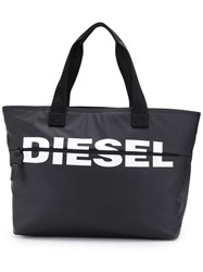 Diesel Logo Printed Tote Bag Black