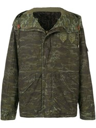 Mr And Mrs Italy Camouflage Print Hooded Jacket Green