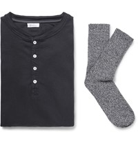 Schiesser Karl Heinz Cotton Jersey Henley T Shirt And Stretch Cotton Blend Socks Set Navy